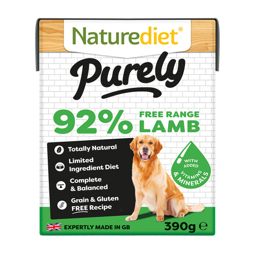 Naturediet Purely Free-range Lamb Wet Adult Dog Food Cartons 390g x 72