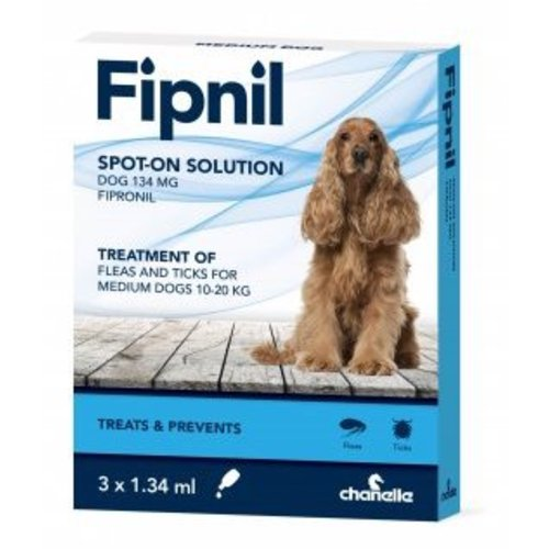 Fipnil Flea & Tick Spot On Solution for Dogs Medium Dog 10-20kg x 3 Pipettes NFA-D