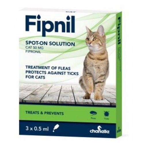 Fipnil Flea & Tick Spot On Solution for Cats 0.5ml x 3 Pipettes NFA-C