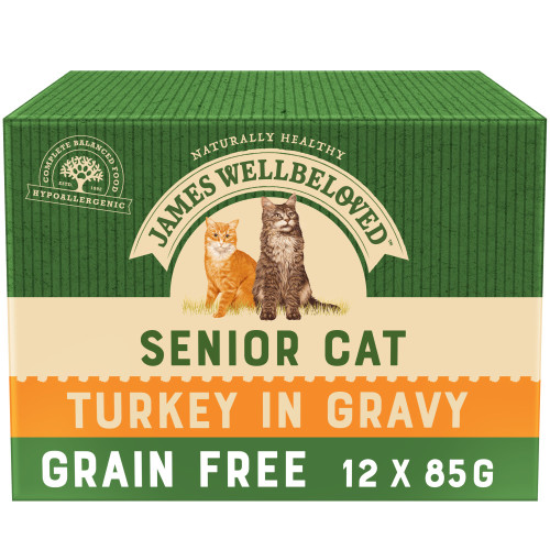 James Wellbeloved Grain Free Turkey Senior Cat Pouches 85g x 12