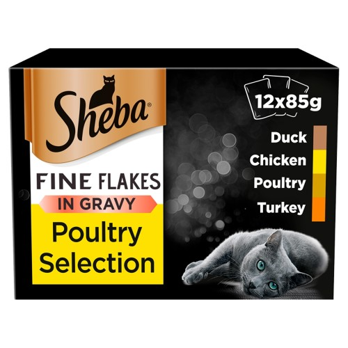 Sheba Fine Flakes Poultry Selection Wet Cat Food 85g x 12