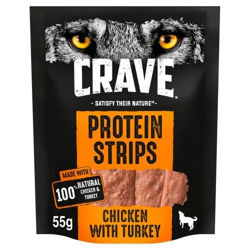 Crave Protein Strips Natural Turkey & Chicken Dog Treats 55g