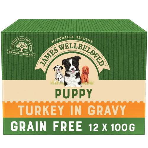 James Wellbeloved Turkey Puppy Grain Free Pouches 100g x 12
