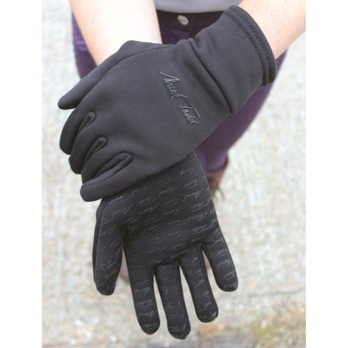 Mark Todd Black Winter Grip Fleece Gloves Large