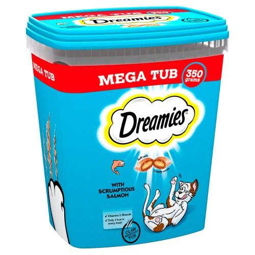 Dreamies Mega Tub of Cat Treats 350g - Salmon