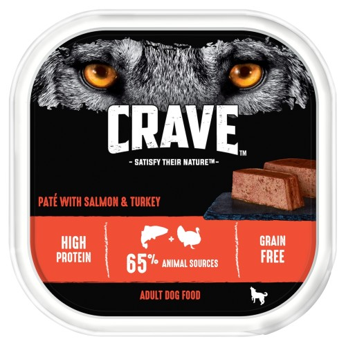 CRAVE Turkey & Salmon Wet Adult Dog Food Trays 300g x 10