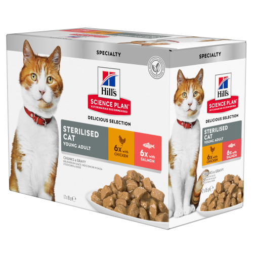 Hills Science Plan Young Adult Sterilised Cat Multipack Delicious Selection Wet Cat Food 85g x 60
