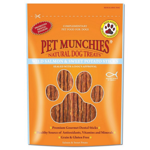 Pet Munchies Natural Salmon Dog Treats 80g - Salmon & Sweet Potato Sticks