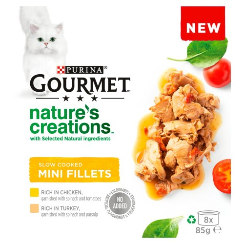 Gourmet Natures Creations Poultry Mini Fillets Wet Adult Cat Food 85g x 8
