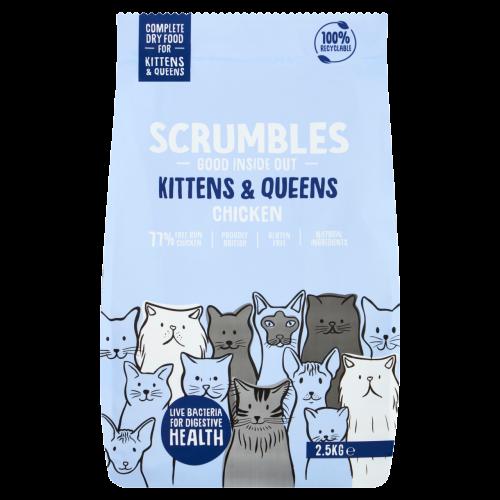 Scrumbles Chicken Kittens & Queens Dry Cat Food 2.5kg x 4