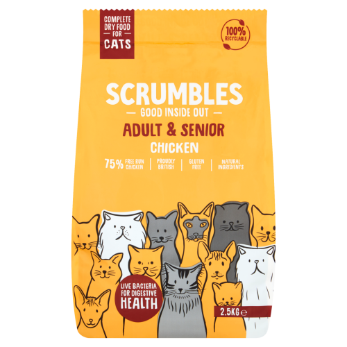 Scrumbles Chicken Adult & Senior Dry Cat Food 2.5kg x 4