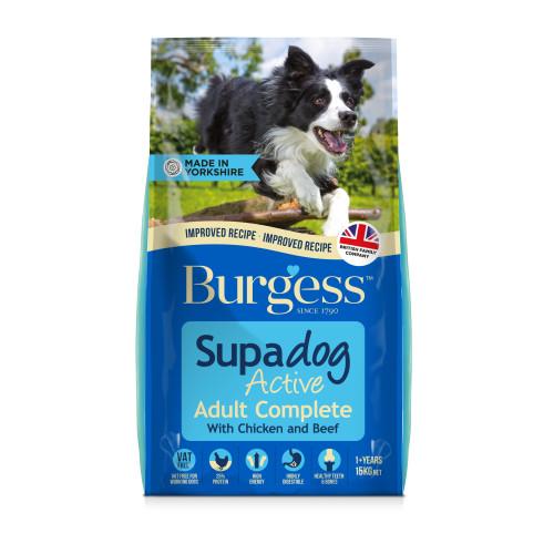 Burgess Supadog Complete Active Chicken & Beef Adult Dog Food 15kg x 2