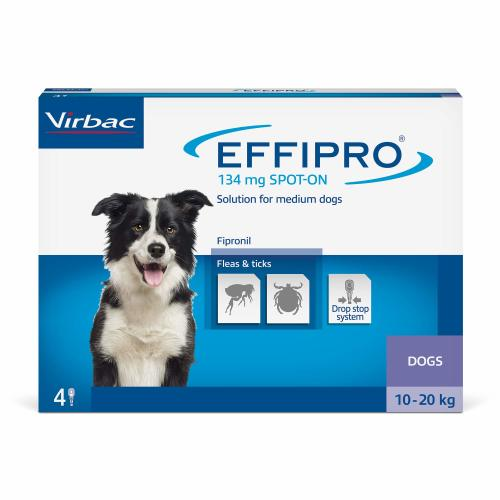 Virbac Effipro Spot On Flea Treatment Dog Medium Dog 10-20kg (1 pipette) NFA-D