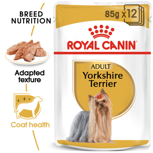 Royal Canin Yorkshire Terrier Wet Pouches Adult Dog Food 85g x 72