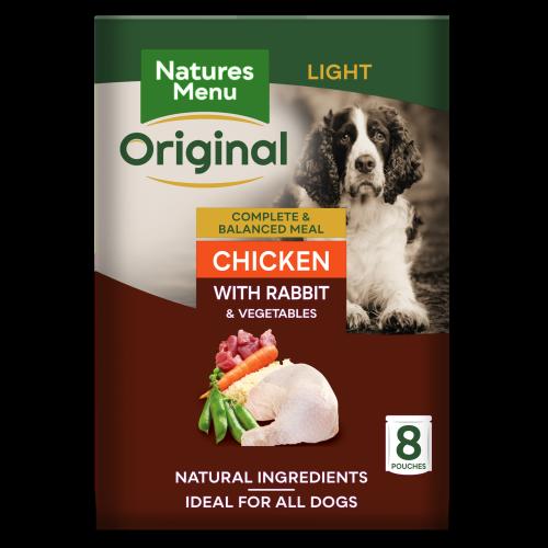 Natures Menu Light Chicken & Rabbit Adult Dog Food Pouches 300g x 8