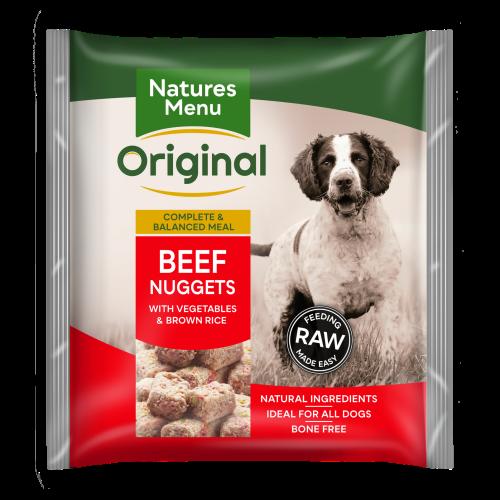 Natures Menu Complete Beef Nuggets Raw Frozen Dog Food 1kg