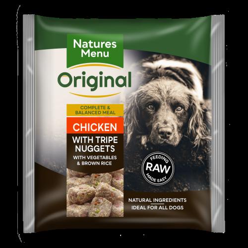 Natures Menu Complete Chicken & Tripe Nuggets Raw Frozen Dog Food 1kg