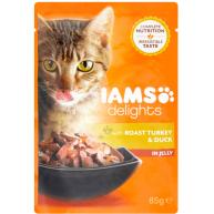 IAMS Delights Roast Turkey & Duck in Jelly Adult Cat Food 85g x 24