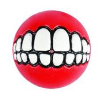 Rogz Grinz Treat Ball Dog Toy Red