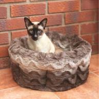 "Rosewood Grey & Cream Snuggle Plush Cat Bed 15"""