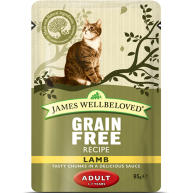 James Wellbeloved Grain Free Lamb Adult Cat Pouches 85g x 12