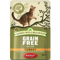 James Wellbeloved Grain Free Turkey Adult Cat Pouches 85g x 12