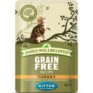 James Wellbeloved Grain Free Turkey Kitten Pouches 85g x 12
