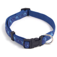 Rosewood Wag n Walk Paw Print Blue Dog Collar 18""