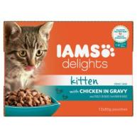 Iams Delights Chicken In Gravy Kitten & Junior Cat Food 85g x 12