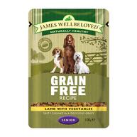 James Wellbeloved Lamb Senior Dog Grain Free Pouches 100g x 12