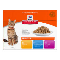 Hills Science Plan Adult Multipack Pouches Wet Cat Food  Favourite Selection 85g x 12