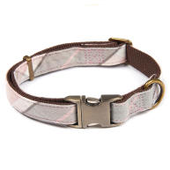 Barbour Tartan Webbing Pink & Grey Dog Collar