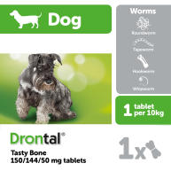 Drontal Tasty Bone Worming Tablets for Small and Medium Dogs 1 Tablet NFA-D