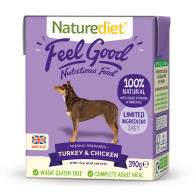 Naturediet Feel Good Turkey & Chicken Wet Adult Dog Food Cartons 390g x 18 Feel Good