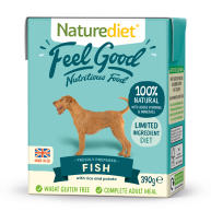 Naturediet Feel Good Fish Adult Wet Dog Food Cartons 390g x 18 Feel Good