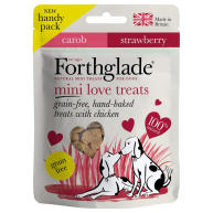 Forthglade Grain Free Hand Baked Chicken, Strawberry & Carob Mini Love Dog Treats 50g