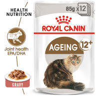 Royal Canin Ageing 12+ Adult Senior In Gravy Wet Cat Food Pouches 85g x 12
