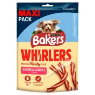 Bakers Whirlers Bacon & Cheese Dog Treats 270g Maxi Pack