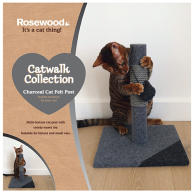 Rosewood Charcoal Felt Cat Scratching Post