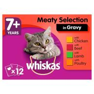 WHISKAS 7+ Meat Selection In Gravy Cat Food 100g x 12