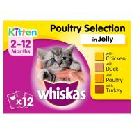 Whiskas 2-12 Months Poultry Selection in Jelly Kitten Food