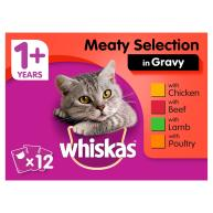 Whiskas 1+ Meat Selection in Gravy Wet Cat Food Pouches 100g x 12
