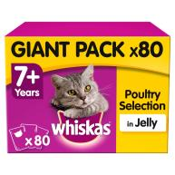 Whiskas 7+ Poultry Selection in Jelly Senior Cat Food Pouches 100g x 80 SAVER PACK