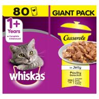 Whiskas 1+ Casserole Poultry Selection Adult Cat Food  85g x 80 SAVER PACK