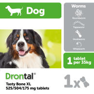 Drontal Dog Tasty Bone XL Worming Tablets 1 Tablet NFA-D
