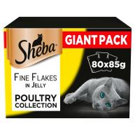 Sheba Fine Flakes Poultry Collection in Jelly Adult Cat Food Pouches 85g x 80 SAVER PACK