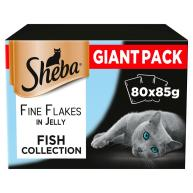 Sheba Fine Flakes Fish Selection in Jelly Adult Cat Food Pouches 85g x 80 SAVER PACK