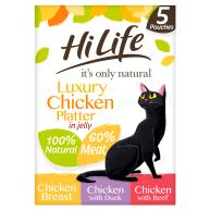 HiLife Its Only Natural Luxury Chicken Platter in Jelly Adult Cat Food 50g x 5
