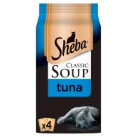 Sheba Classic Soup Pouches with Tuna Fillets Adult Cat Food 40g x 4