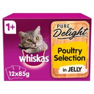 Whiskas 1+ Pure Delight Poultry Selection Wet Adult Cat Food Pouches 85g x 12